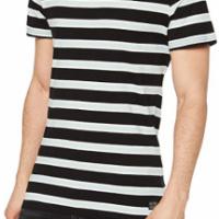 MERAKI Camiseta de Rayas de Manga Corta Hombre